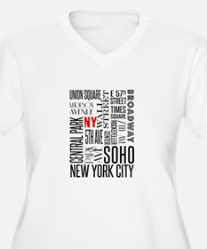 NY Streets White and Black Plus Size T-Shirt