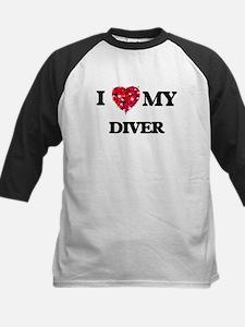 I love my Diver hearts design Baseball Jersey