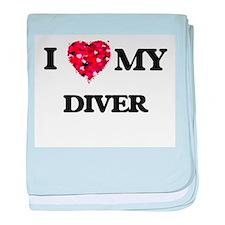 I love my Diver hearts design baby blanket