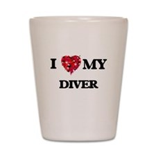 I love my Diver hearts design Shot Glass