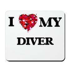 I love my Diver hearts design Mousepad
