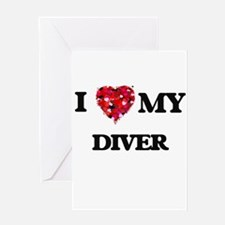 I love my Diver hearts design Greeting Cards