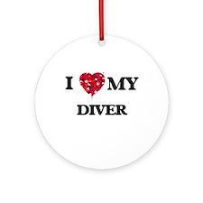 I love my Diver hearts design Ornament (Round)