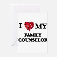 I love my Family Counselor hearts d Greeting Cards
