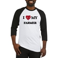 I love my Farmer hearts design Baseball Jersey