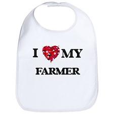 I love my Farmer hearts design Bib