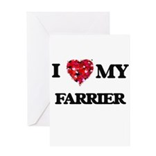 I love my Farrier hearts design Greeting Cards