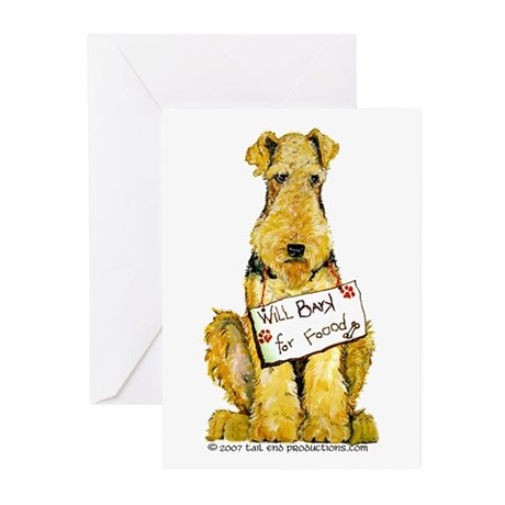 Airedale Terrier Bark for Food Greeting Cards (Pk