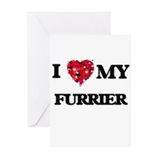 I love my Furrier hearts design Greeting Cards