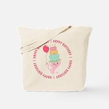 Cute Cat Balloon Birthday Tote Bag