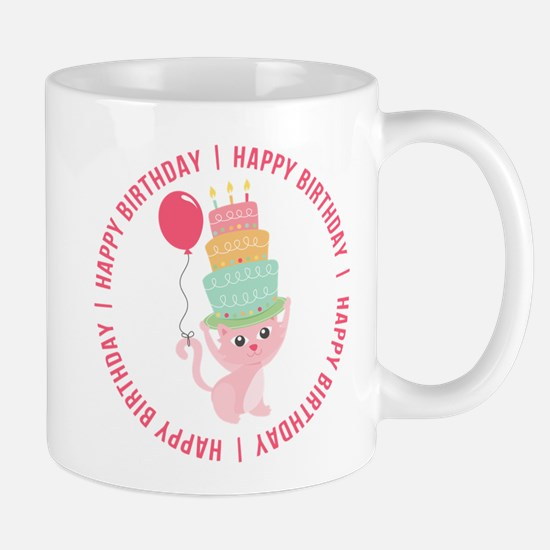 Cute Cat Balloon Birthday Mug
