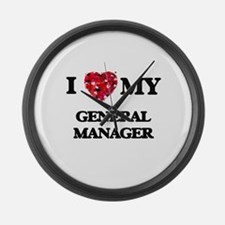I love my General Manager hearts Large Wall Clock