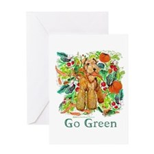 Airedale Terriers Go Green Greeting Card
