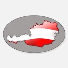 """Austria Bubble Map"" Oval Decal"