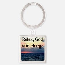 GOD IS IN CHARGE Square Keychain