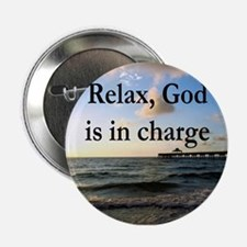 """GOD IS IN CHARGE 2.25"""" Button"""
