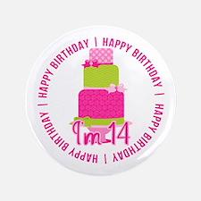 14th Birthday Pink Cake Button