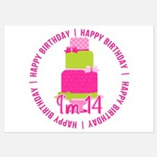 14th Birthday Pink Cake Invitations