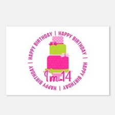 14th Birthday Pink Cake Postcards (Package of 8)
