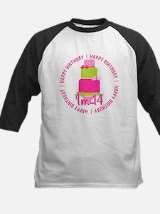14th Birthday Pink Cake Kids Baseball Jersey