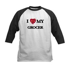 I love my Grocer hearts design Baseball Jersey