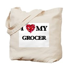 I love my Grocer hearts design Tote Bag