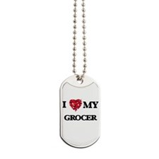 I love my Grocer hearts design Dog Tags