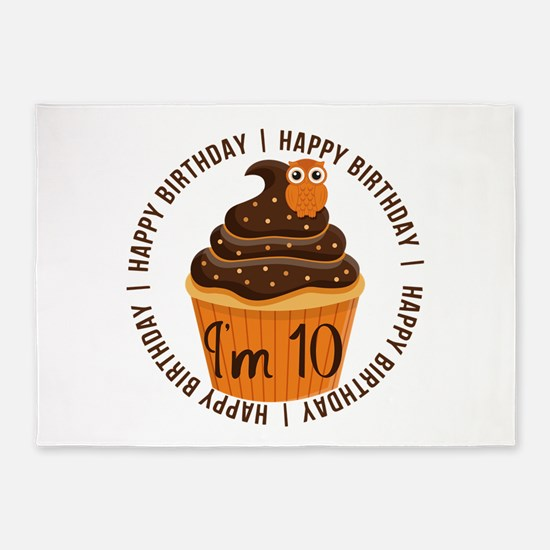 10th Birthday Cupcake 5'x7'Area Rug