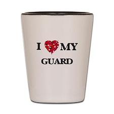 I love my Guard hearts design Shot Glass