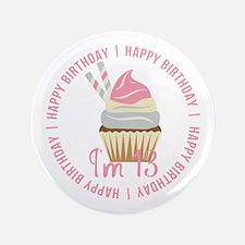 13th Birthday Cupcake Button