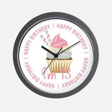 13th Birthday Cupcake Wall Clock