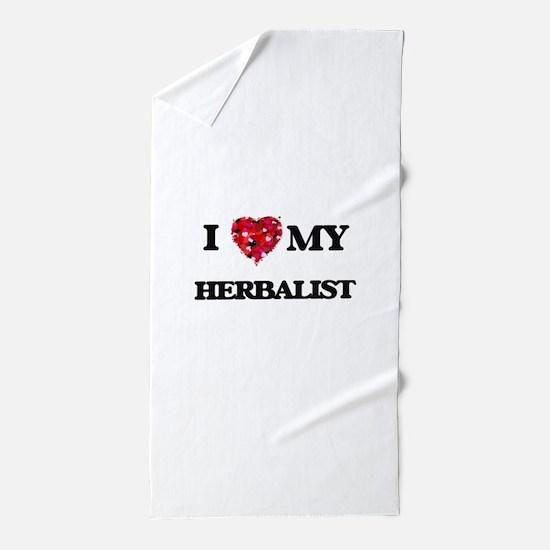 I love my Herbalist hearts design Beach Towel