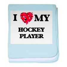 I love my Hockey Player hearts design baby blanket