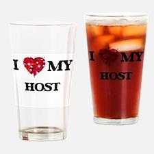 I love my Host hearts design Drinking Glass