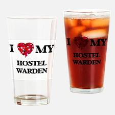 I love my Hostel Warden hearts desi Drinking Glass