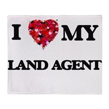 I love my Land Agent hearts design Throw Blanket