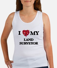 I love my Land Surveyor hearts design Tank Top