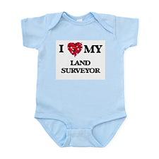 I love my Land Surveyor hearts design Body Suit