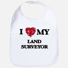 I love my Land Surveyor hearts design Bib