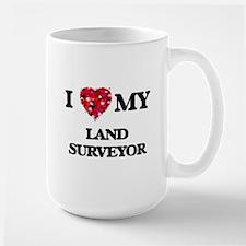 I love my Land Surveyor hearts design Mugs