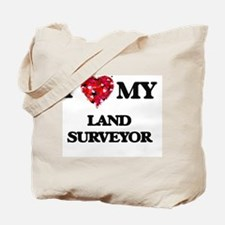I love my Land Surveyor hearts design Tote Bag