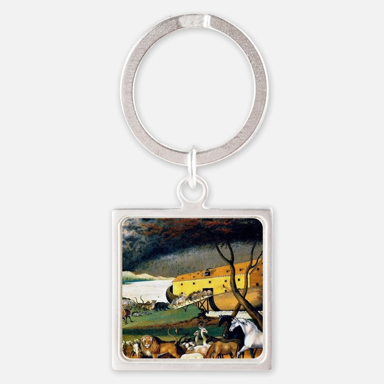 Noah's Ark, painting by Edward Hic Square Keychain
