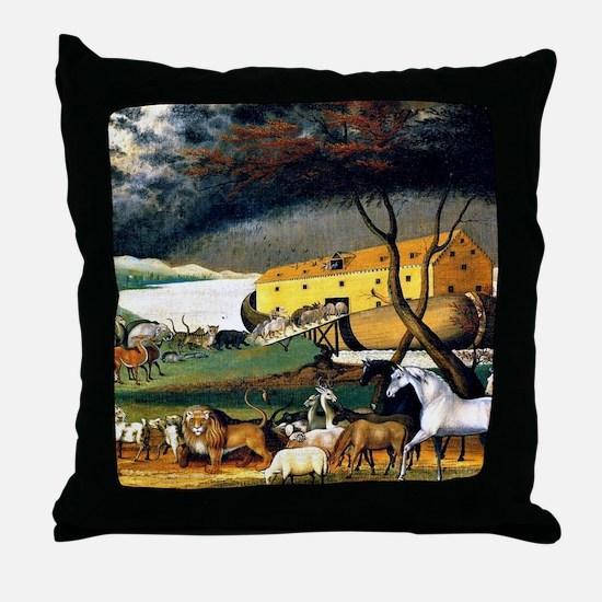 Noah's Ark, painting by Edward Hicks Throw Pillow