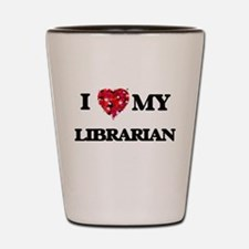 I love my Librarian hearts design Shot Glass