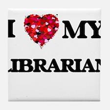 I love my Librarian hearts design Tile Coaster