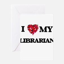 I love my Librarian hearts design Greeting Cards