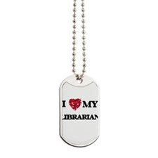 I love my Librarian hearts design Dog Tags