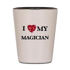 I love my Magician hearts design Shot Glass