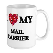 I love my Mail Carrier hearts design Mugs