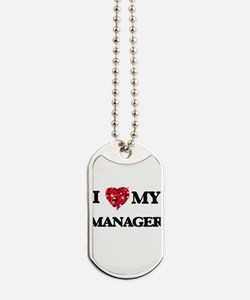 I love my Manager hearts design Dog Tags